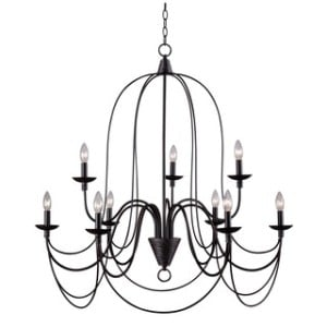 Alma 9-Light Bronze Chandelier Rental from AV Connections Charleston SC